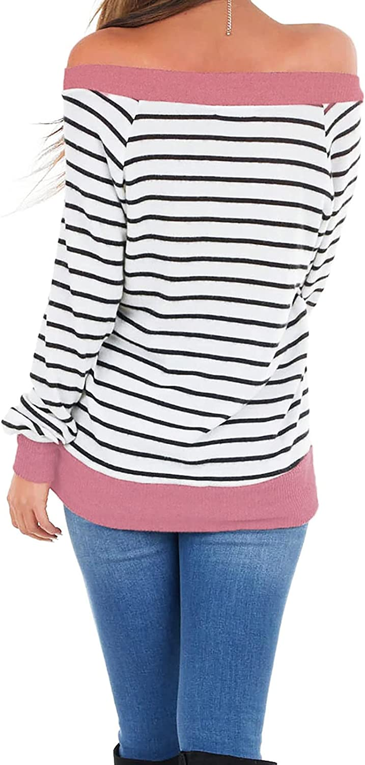 TIMIFIS Off The Shoulder Tops for Women Loose Fit Shirts Sexy Blouse Fashion Tunic Tops Plus Size Tees