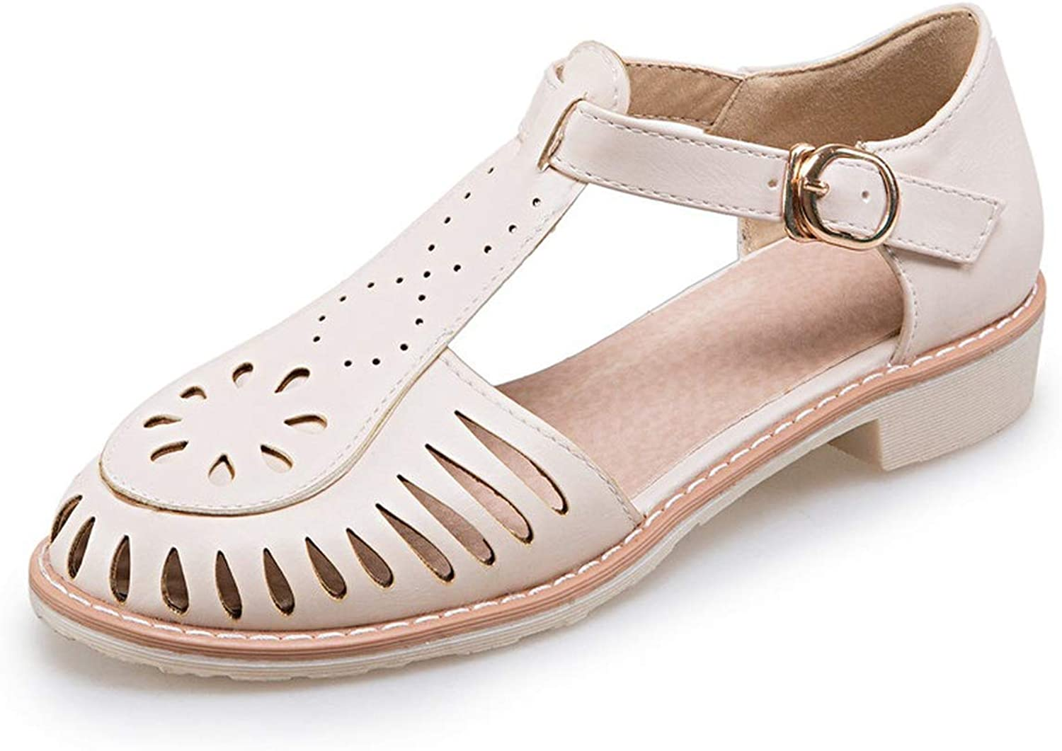 Casual shoes Solid color Buckle Low Heels Sandals Fashion Cover Heel Summer shoes