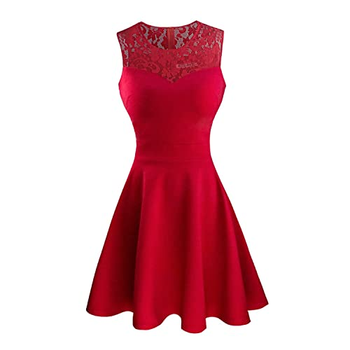 5946ecc90 Sylvestidoso Women's A-Line Pleated Sleeveless Little Cocktail Party Dress  with Floral Lace