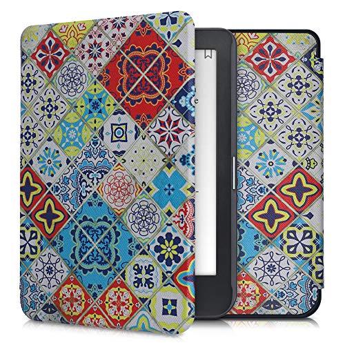 kwmobile Carcasa Compatible con Kobo Clara HD - Funda para Libro electrónico con Solapa - Azulejos