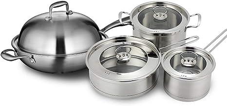 """MSWL Non-stick Pan Set; 10.5"""" Fry Pan With Lid, 1qt Covered Saucepan, 3qt Covered Saucepan, 3.5qt Covered Deep Saute, 5qt ..."""