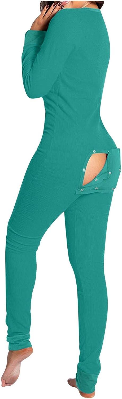 POLLYANNA KEONG Womens Onesie Pajmas,Soft Long Sleeves Pajamas Zip Up One Piece Bodycon Jumpsuits Playsuits Sleepwear
