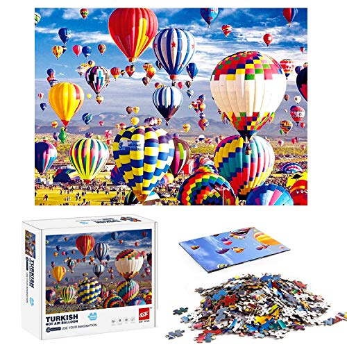 Klassische Puzzles 1000 Teile für Erwachsene Kinder, Jigsaw Puzzle Ballon Landschaft Ansichten Puzzlesets für Familien, Papppuzzles, Lernspiele, Brain Challenge Floor Table Puzzle für Jugendliche