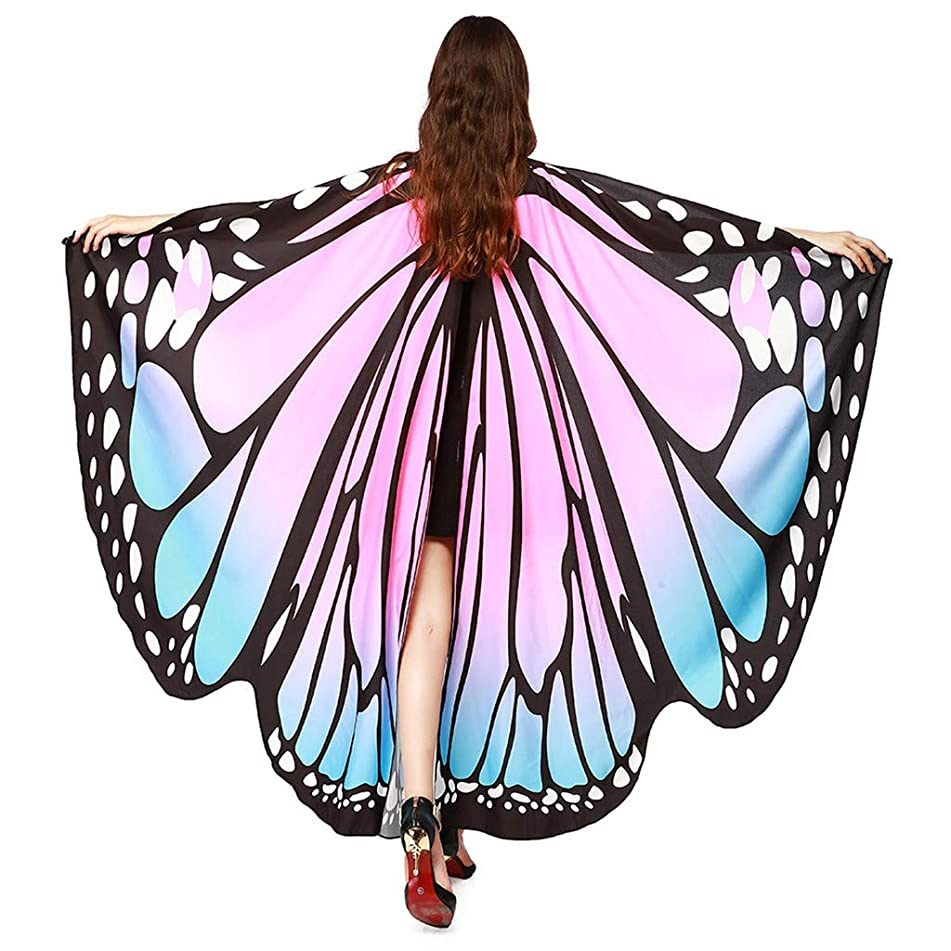 Women Butterfly Wings Shawl Scarves, Ladies Nymph Pixie Poncho Costume Accessory Party Fashion (Pink)