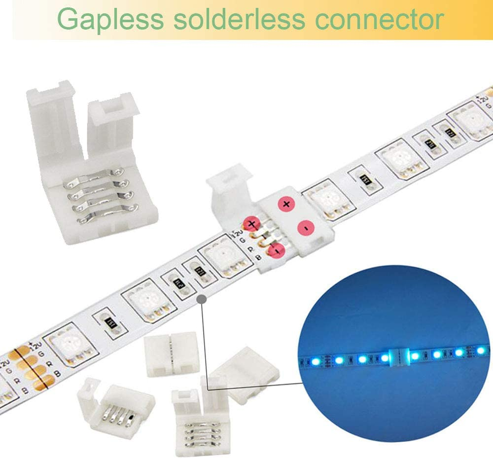 FSJEE 4 Pin LED Strip Connector Kit , Include 20PCS 10mm LED Corner Connector 4 Pin, 20PCS Unwired Gapless 4 Pin Connectors for 5050 RGB LED Strip Light Connection - -