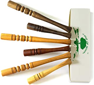 Wooden Cigarette Holders for Standard Cigarette Set of 6 – All-Natural, Handmade Wooden Mouthpiece for No Filter Tobacco Smoking – 100% Wood Cigarette Pipe Variety Pack Perfect Gift for a Smoker