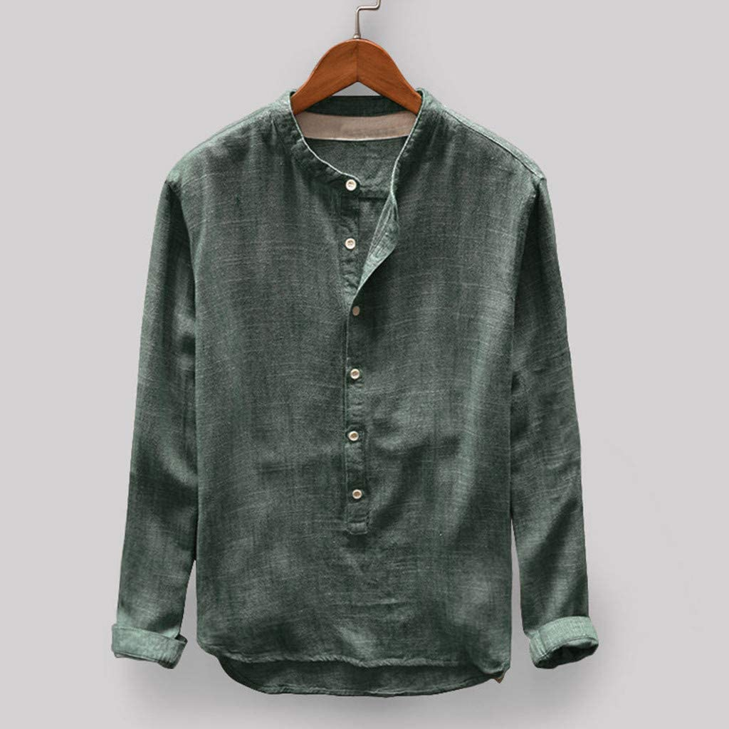 HONGJ Casual Shirts for Mens, Fall Cotton Linen Long Sleeve Front Placket Button Henley Shirt Plus Size Loose Beach Tops
