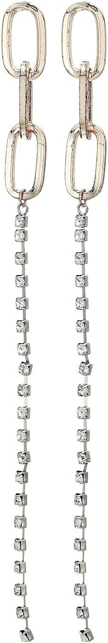 "5.95"" Rhinestone Long Chain Link Drop Earrings"