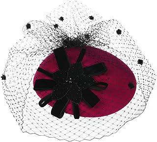 ZOO ウールの布の女性の春と秋の小さな帽子英国のガーゼブラックウール冬の帽子 (色 : 赤)