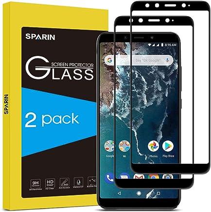 [2-Pack] SPARIN Cristal Templado Xiaomi Mi A2, Full-Cover Protector Pantalla Xiaomi Mi A2 [Sin Burbujas] [Anti-Arañazos] [Dureza 9H] [Anti-Huella] Negro