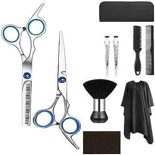 ヘアカットはさみセット6インチ、美容のためのプロのステンレス鋼補強理容室/サロン鋏、間引き、フラット鋏、歯剪断、くし、サロンケープ、ヘアクリップ、10個