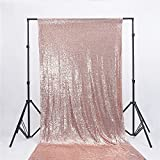 Zdada 4.5FT6.5FT Wedding Ceremony Backdrop,Rose Gold Sequin Photography Backdrop Curtain for Chirstmas Party Decoration,Not Through