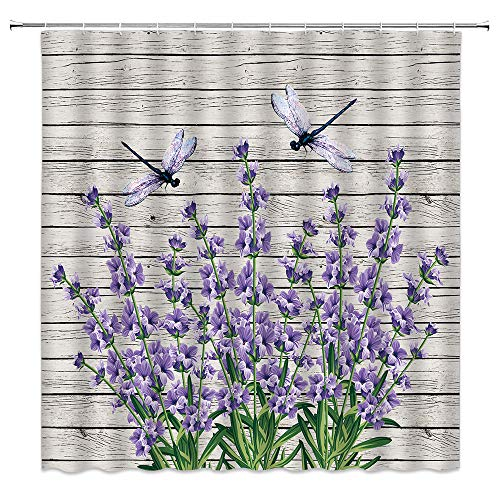 dachengxing Purple Flower Shower Curtain Spring Summer Dragonfly Decor Purple Floral on Vintage Wooden Rustic Nature,Fabric Bathroom Set Hooks Included 70x70 Inch,Purple