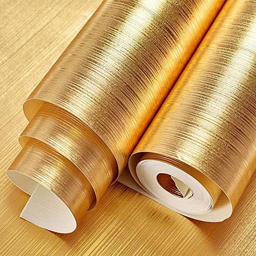 Rollo de papel pintado dorado de vinilo para decoración del hogar, fondo de habitación, adhesivo de pared, impermeable, 3D