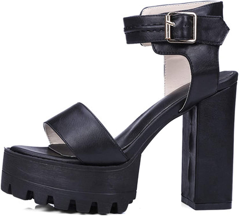Summer-lavender White Open Toe Platform Women Sandals High Heels Ankle Strap Thick Heel Woman shoes