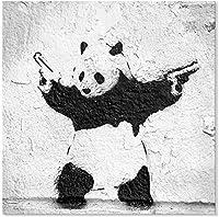 油絵 パンダが銃を持つ アートパネル Banksy バンクシー ストリート 現代 ポスター リビングの装飾用絵画 映画 写真の装飾 おしゃれ モダン インテリア 部屋飾り 壁掛け 壁飾り 飾り絵 壁アート 贈り物50x50cm(フレームレス)