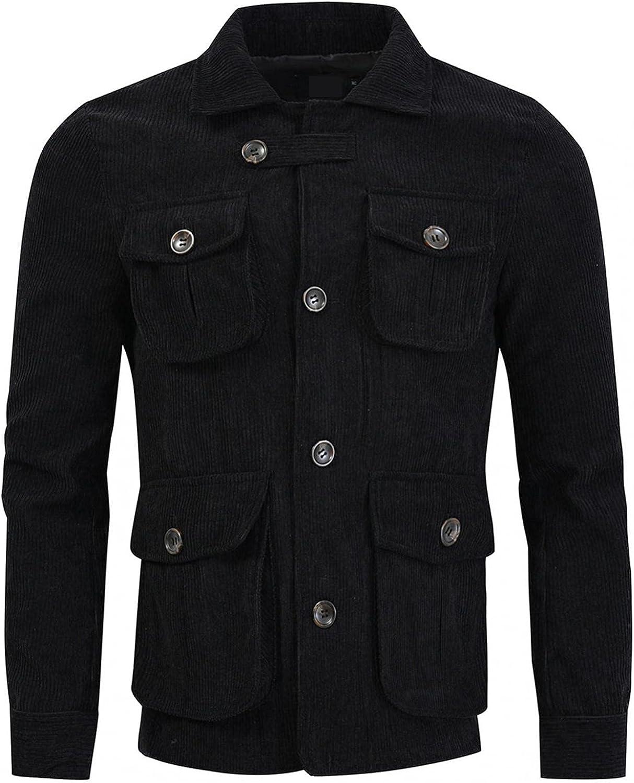 Huangse Men's Corduroy Jacket Coats Multi-Pocket Cargo Jacket Button Up Turndown Collar Military Hunting Jackets