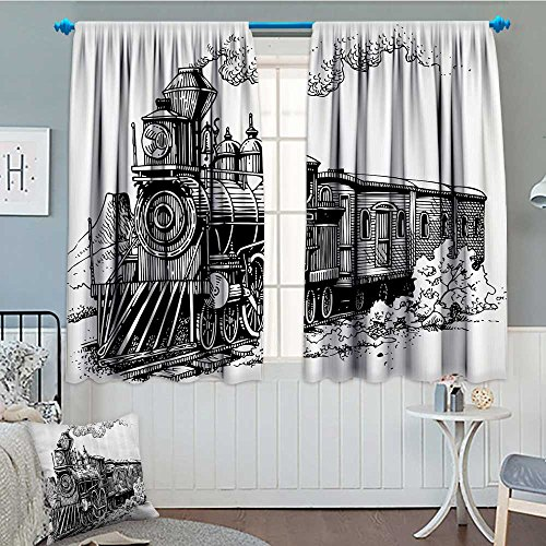 """SeptSonne Steam Engine Window Curtain Drape Rustic Old Train in Country Locomotive Wooden Wagons on Rail Road with Smoke Decorative Curtains for Living Room 52""""x63"""" Black and White"""