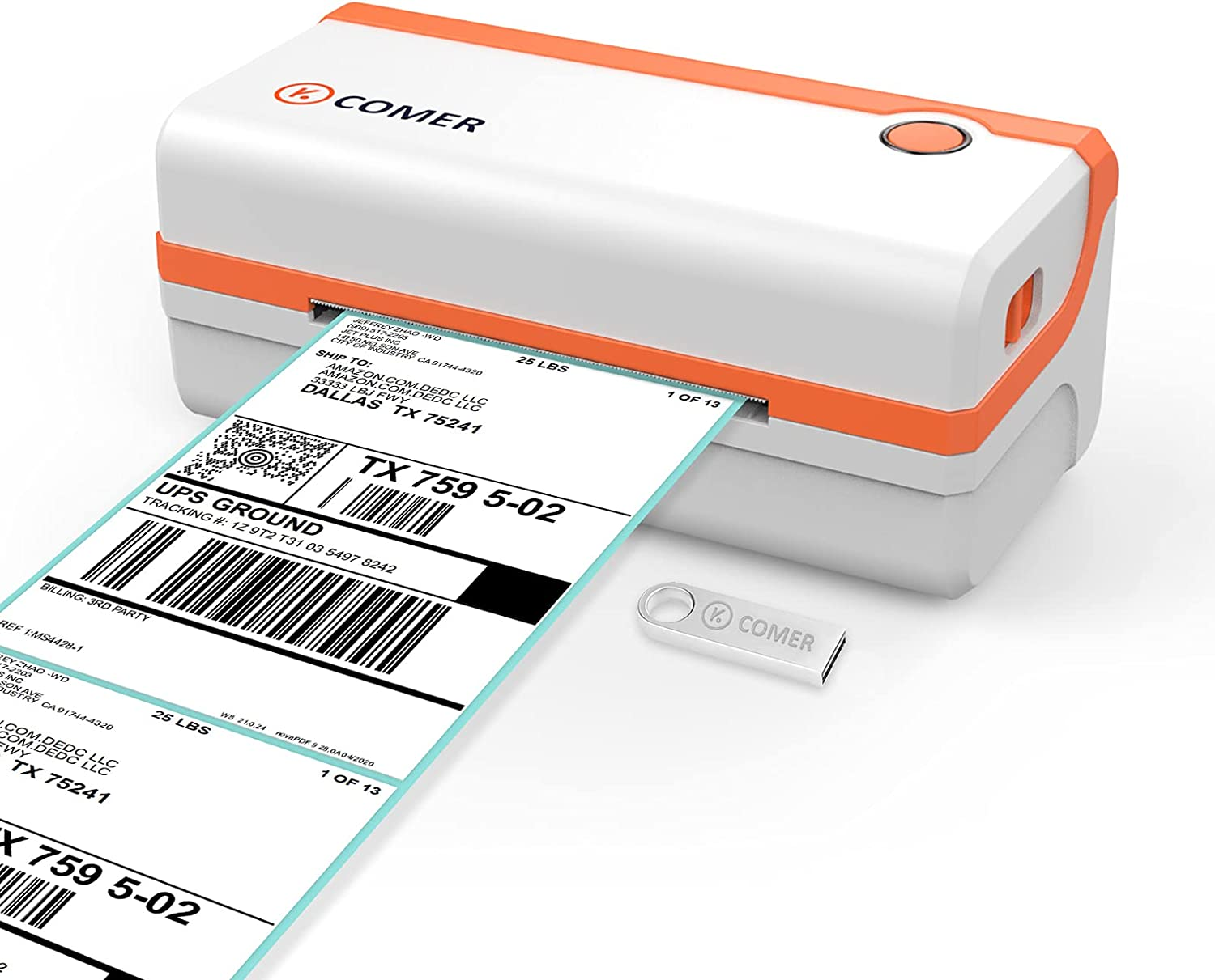 K Comer HD Thermal Shipping Label Printer 300DPI, Direct Thermal 4x6 High-Speed Label Printer, Compatible with Windows and Mac,Supports Multiple Platform Applications