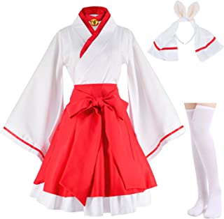 Japanese Anime red and White Kimono Fox Cosplay Costume with Socks