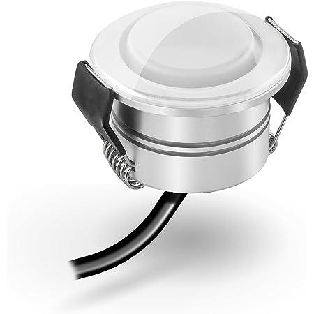 Dusche uvm Mini-Einbauleuchten f/ür Innen- und Au/ßen IP65 Wassergesch/ützt Dimmbar ideal f/ür Terrassendach 1W LED Mini Einbaustrahler Silber, 12er-Set Bad 3000K Warmwei/ß Aluminium