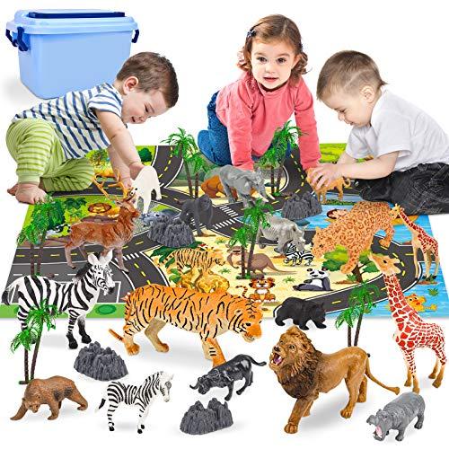 Animali Giungla Zoo Animali Plastica per Bambini Cake Topper con Tappetino da Gioco, Albero e Pietra 30Pezzi