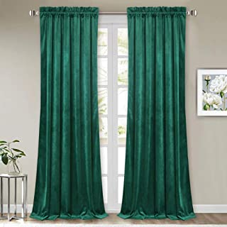 StangH Luxury Home Decor Privacy French Door Velvet Curtain Panels, Heat Insulated Blackout High Ceiling Wall Backdrops, Green, W52 x L108-inch, 2 Pieces