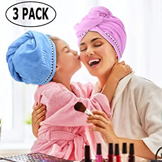 Updated Microfiber Hair Towel Turban Wrap - Ultra Absorbent & Quick Magic Hair Dry Hat with Button, Anti frizz Bath Shower Head Towel Cap Great Gift for Women, 3 Pack By Laluztop