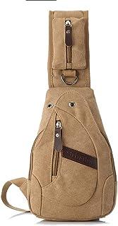 DIEBELLAU Men's Chest Bag Canvas Bag Messenger Bag Men's Bag Shoulder Bag Small Backpack Casual Pockets Fashion Bag (Color : Khaki)