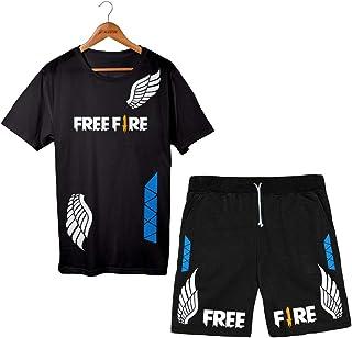 Conjunto Bermuda Short Game Free Fire + Camiseta Algodão Angelical
