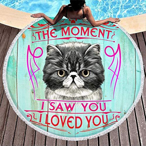 WOSITON The Moment I Saw You I Love You - Toalla de playa para gato, suave y redonda, mantel de yoga (150 cm), color blanco