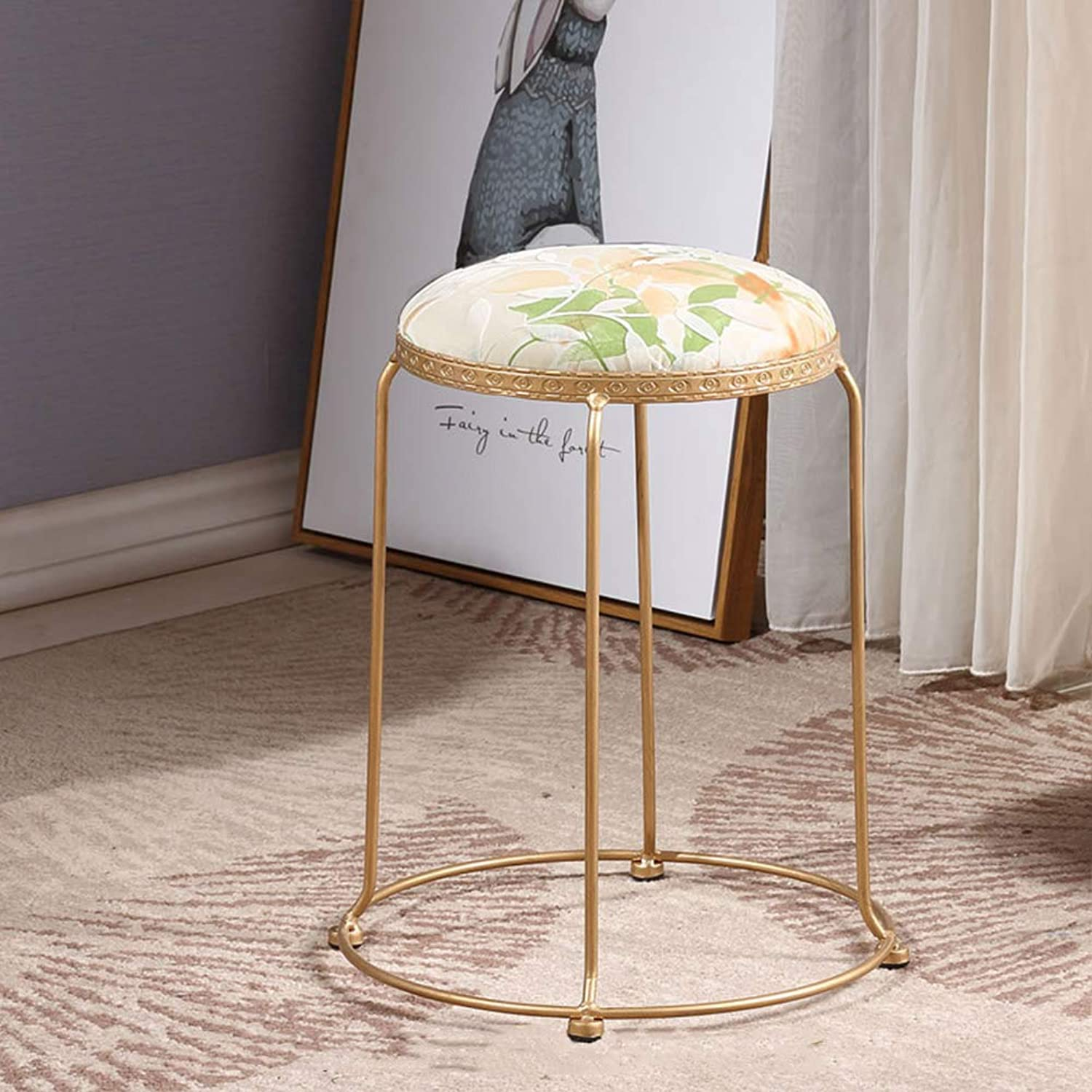 ZHAOYONGLI Stools Footstool Work Stool Metal Cloth Coffee Table Short Soft Stool No Space Printing Multiple Styles Creative Solid Durable Long Lasting (color   Leaf Pattern, Size   30CM)