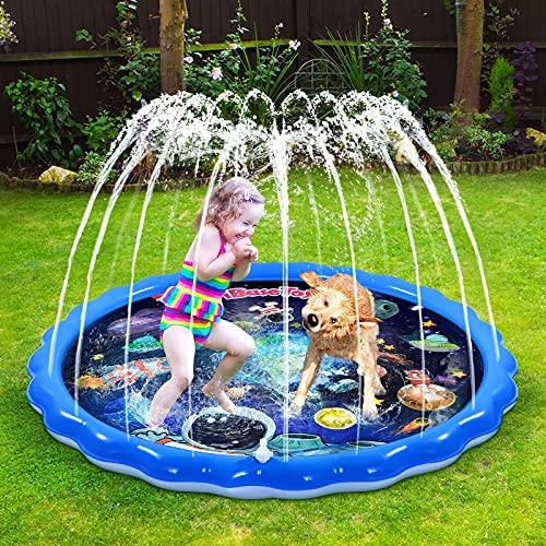 iBaseToy Sprinkler, 172cm Splash Pad Kids Wading Pool/ Splash Water Mat/...
