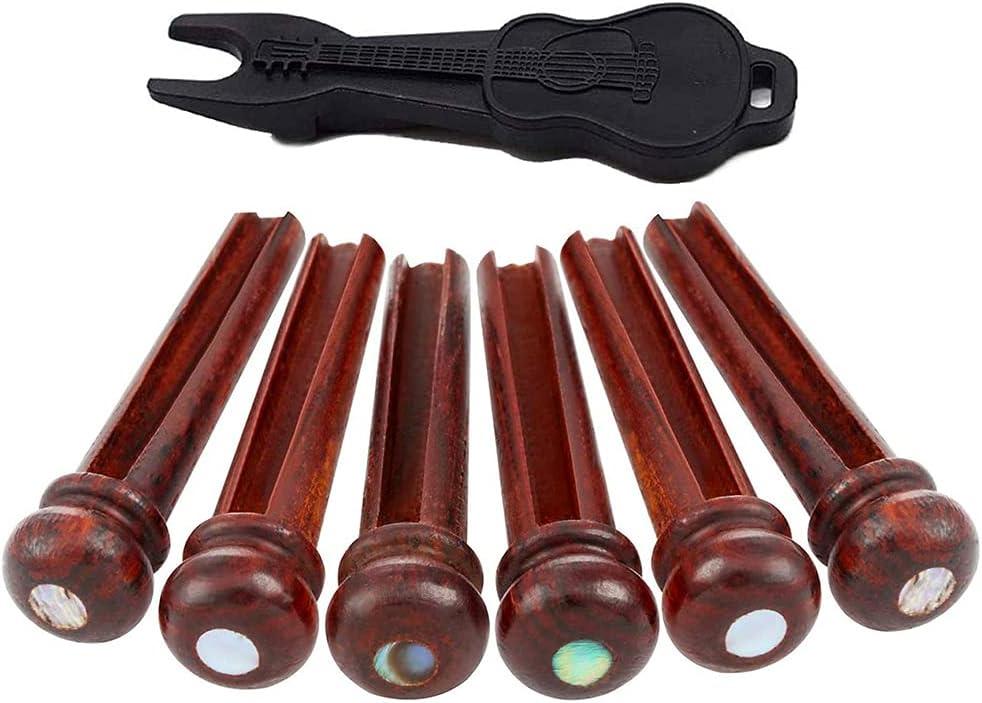 MUGE LEEN Pasadores de Puente de Guitarra de Madera Clavijas de Guitarra acústica con Incrustaciones de 3 mm Conjunto de Repuesto de Punto de abulón