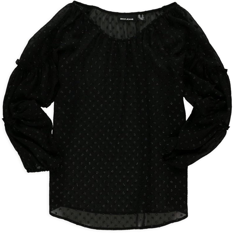 Dkny Womens Sheer Shimmer Tunic Blouse