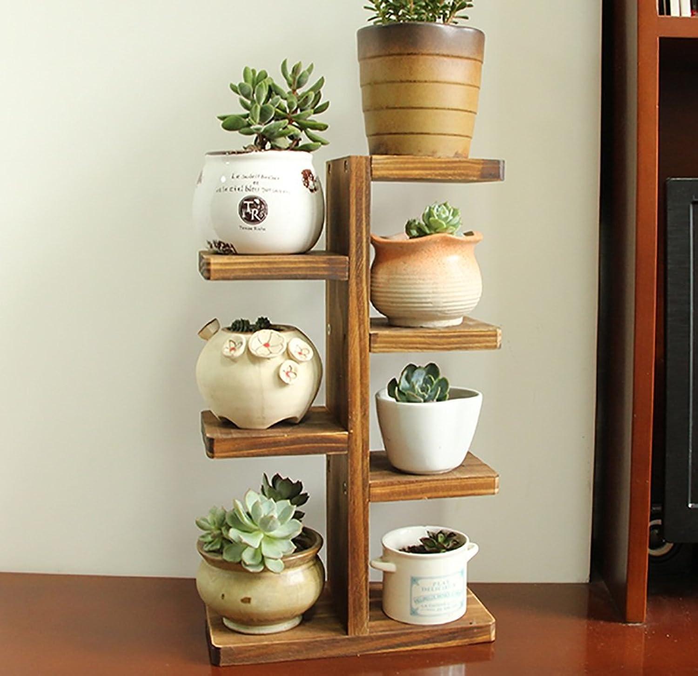 NYDZDM Mini Solid Wood Desktop Bonsai Flower Stand, LxH  Approx. 21.5x31.5cm