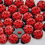 100 Pcs Ladybug Shaped Buttons Plastic Mini Buttons Craft Decorations by EORTA for Scrapbooking Clothing DIY Craft, Red