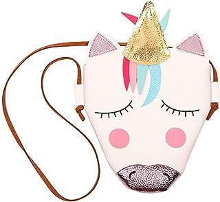 INTVN Borsa a Tracolla Unicorno,Piccola borsa a tracolla da donna, con unicorno, in pelle, portamonete e tasca per bancono...