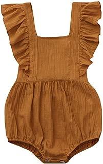 Baby Romper,Toddler Newborn Kids Girls Summer Solid Color Sleeveless Backless Snap-up Romper Bodysuit