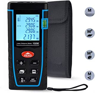 Laser Distance Measure, ieGeek 328ft Handheld M/In/Ft Laser Distance Meter Measuring Device Laser Tape Measure Rangefinder, Pythagorean Mode/Measure Area Volume Capacity/LCD Display/Self-Calibration