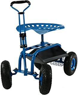 Sunnydaze Garden Cart Rolling Scooter with Extendable Steering Handle, Swivel Seat & Utility Basket, Blue