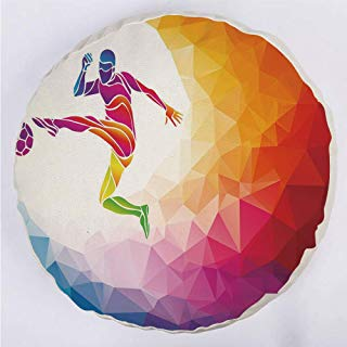 YOUWENll Round Decorative Throw Pillow Floor Meditation Cushion Seating/Fractal Soccer Player Hitting The Ball Polygon Abstract Artful Illustration Decorative/for Home Decoration 17