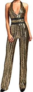 Women's Deep-V Strapless Sleeveless Backless Playsuit Sequined Jumpsuit