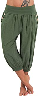 TIFENNY Sport Shorts for Women Summer Elastic Waist Check Pants Baggy Wide Leg Plus Size Yoga Capris Lantern Pants