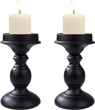 Bougeoirs Pilier en Métal Noir Candlestick, 2 Pièces Chandelier Rétro Ornement de Table Mariage, Centres Dîner Table de Décor