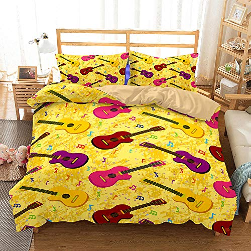 AHJJK Duvet cover set 55 x 79 inchYellow guitar 3D Printed Microfiber Bedding Duvet Cover with 2x Pillowcases & Zipper Closure Quilt Case for Boy Girl Single Double King Bed