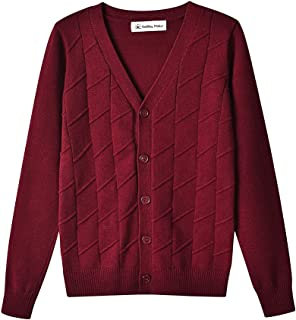 SMINLING Pinker Boys Cardigan Sweater V-Neck Solid Button Down Knitted Outwear