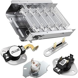 279838 Elemento calefactor de secadora aplicable para Whirlpool Roper Kenmore 3392519 3977393 Fusible térmico y 3387134 3977767 Termostato de secadora (279838 Reemplace 8565582 ,