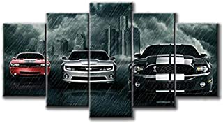 Super cars Dodge challenger Chevrolet Camaro Ford Mustang Shelby print poster canvas decoration 5 pieces