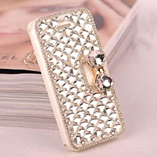 Amocase Wallet Leather Case with 2 in 1 Stylus for iPhone XS Max,Luxury 3D Handmade Square Diamond Crystal Rhinestone Bowknot Magnetic Stand Purse Shockproof Leather Case for iPhone XS Max - Clear